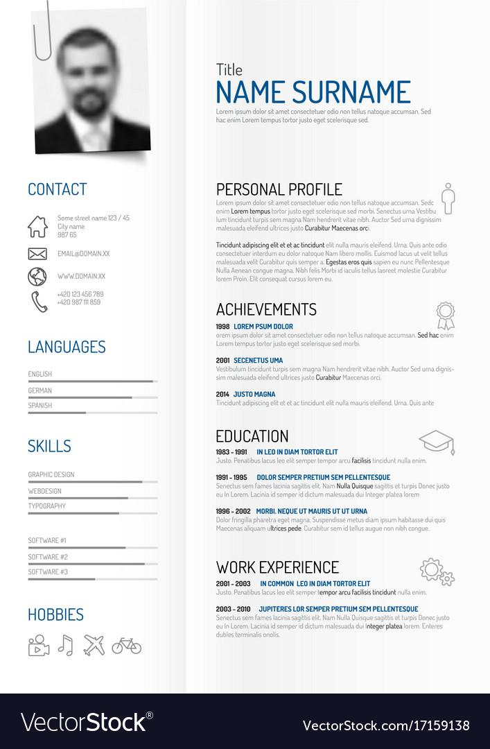 creative minimalist cv resume template vector image - Minimalist Resume Template