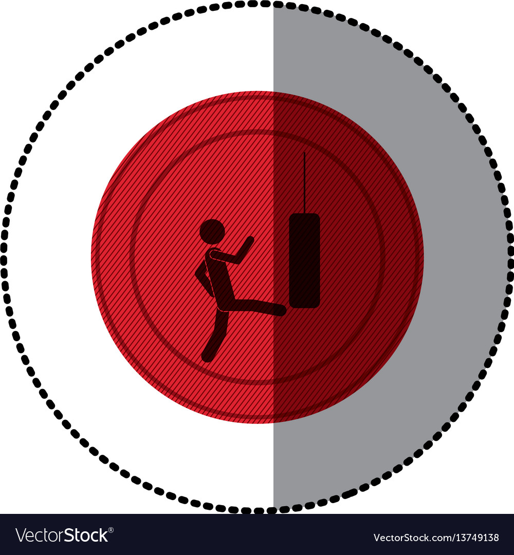 Red symbol person kicking a punching bag vector image