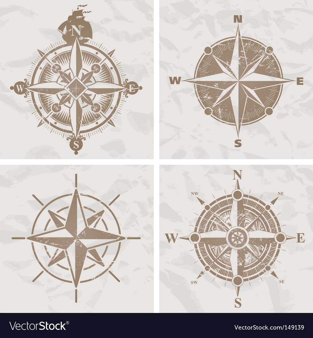 Vintage compass rose Royalty Free Vector Image - VectorStock