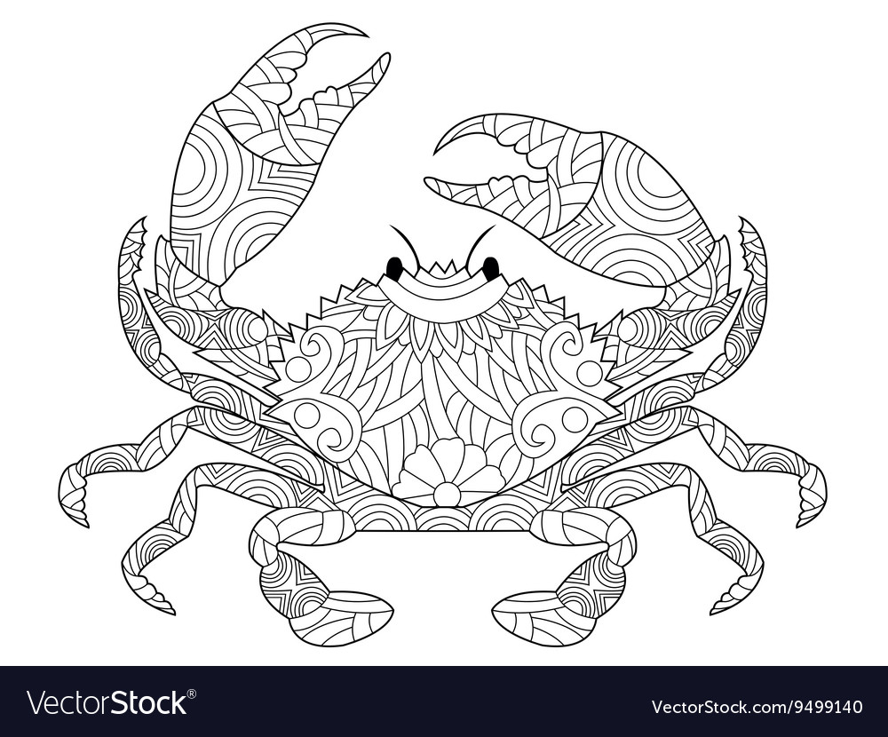 Crab Coloring Book For Adults Royalty Free Vector Image