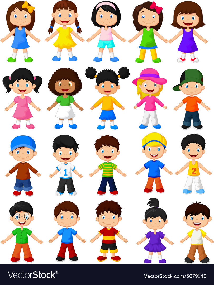 Happy children collection set vector image