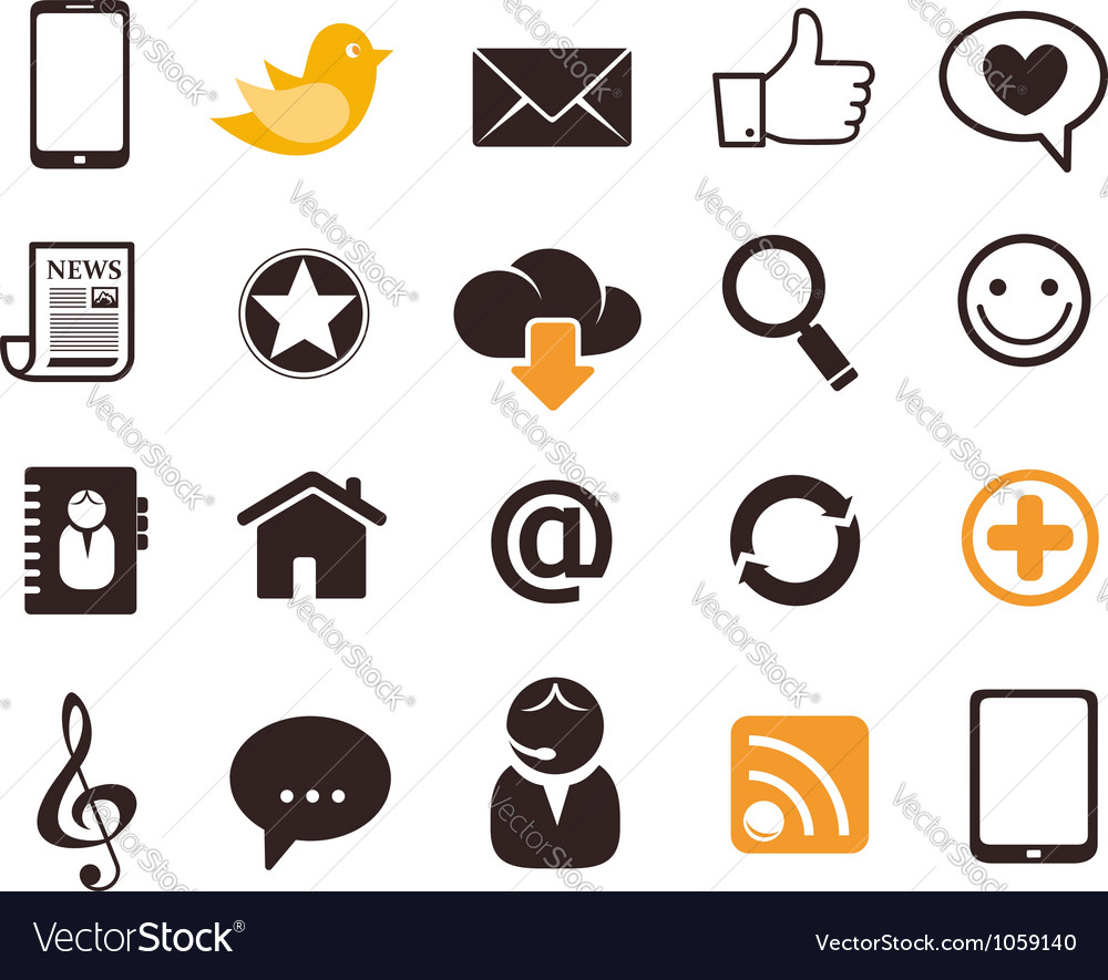 Internet communication icons vector image