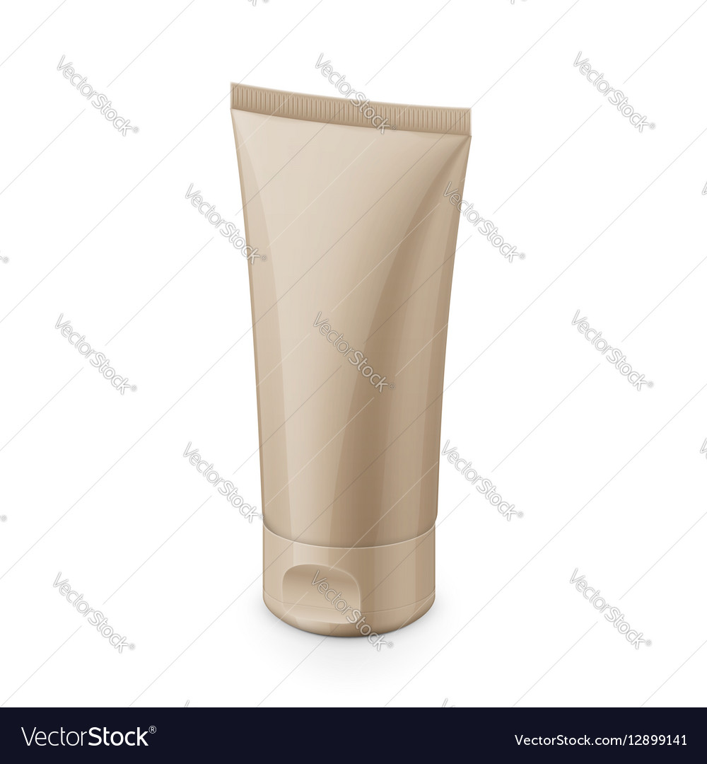 Beige glossy plastic tube for cosmetics vector image