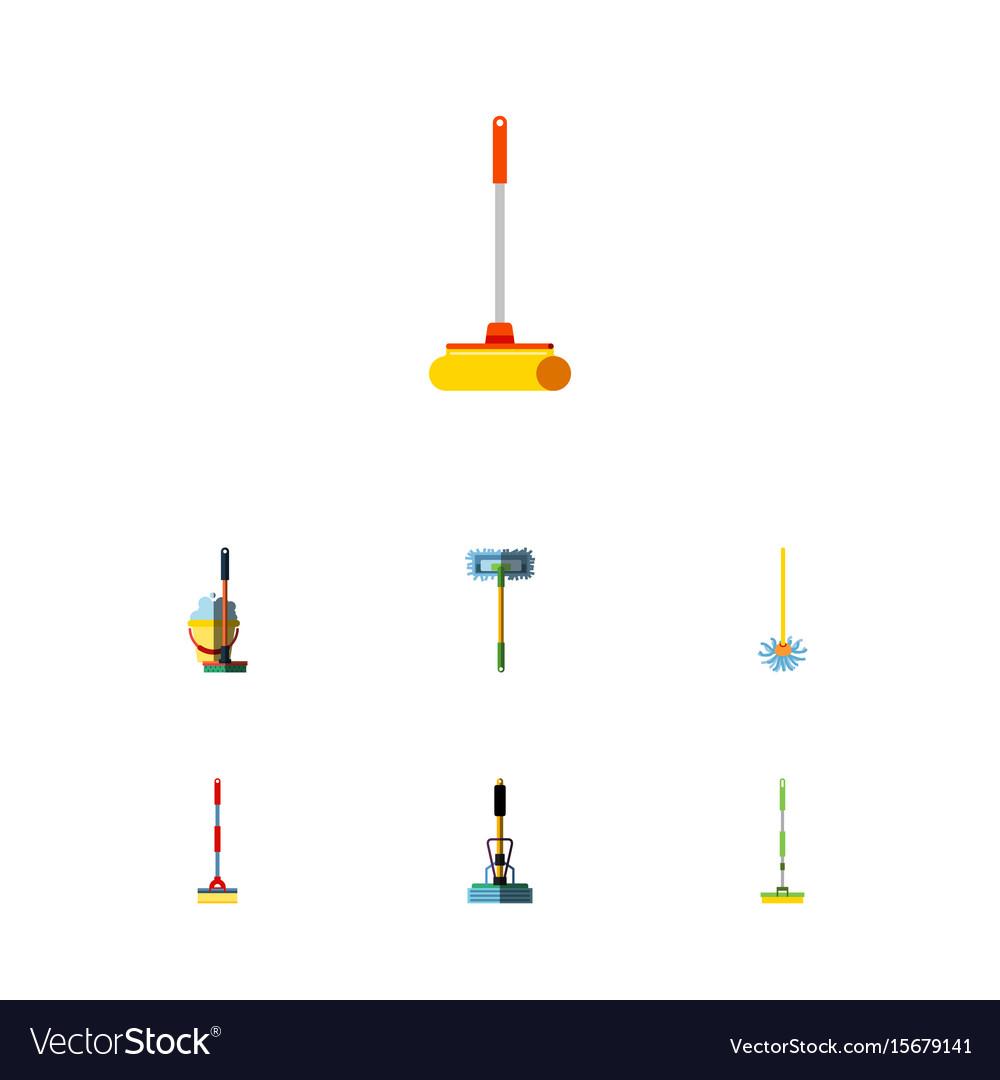 Flat icon mop set of broom equipment broomstick vector image