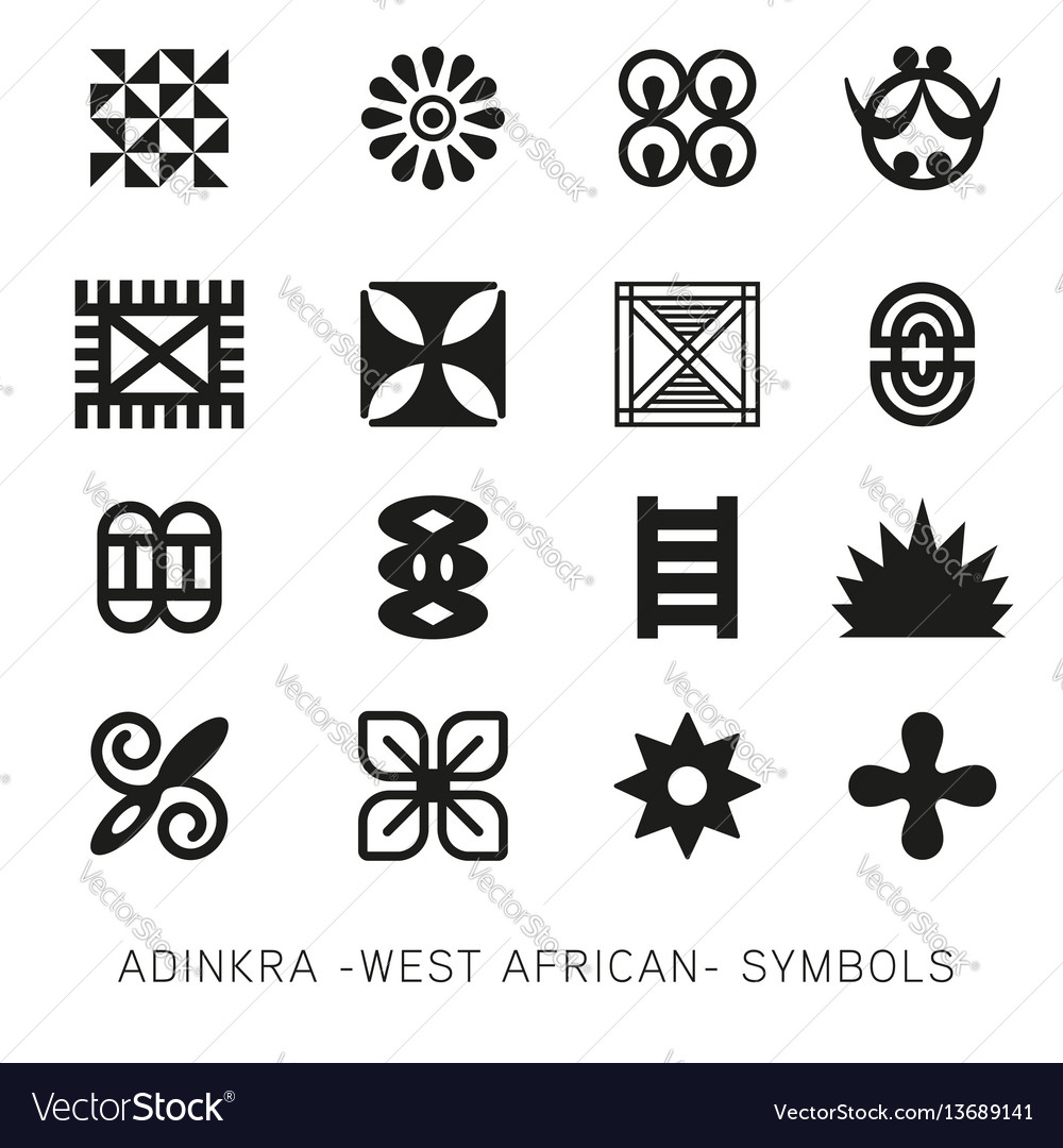 Set of akan and adinkra west african symbols vec set of akan and adinkra west african symbols vec vector image biocorpaavc