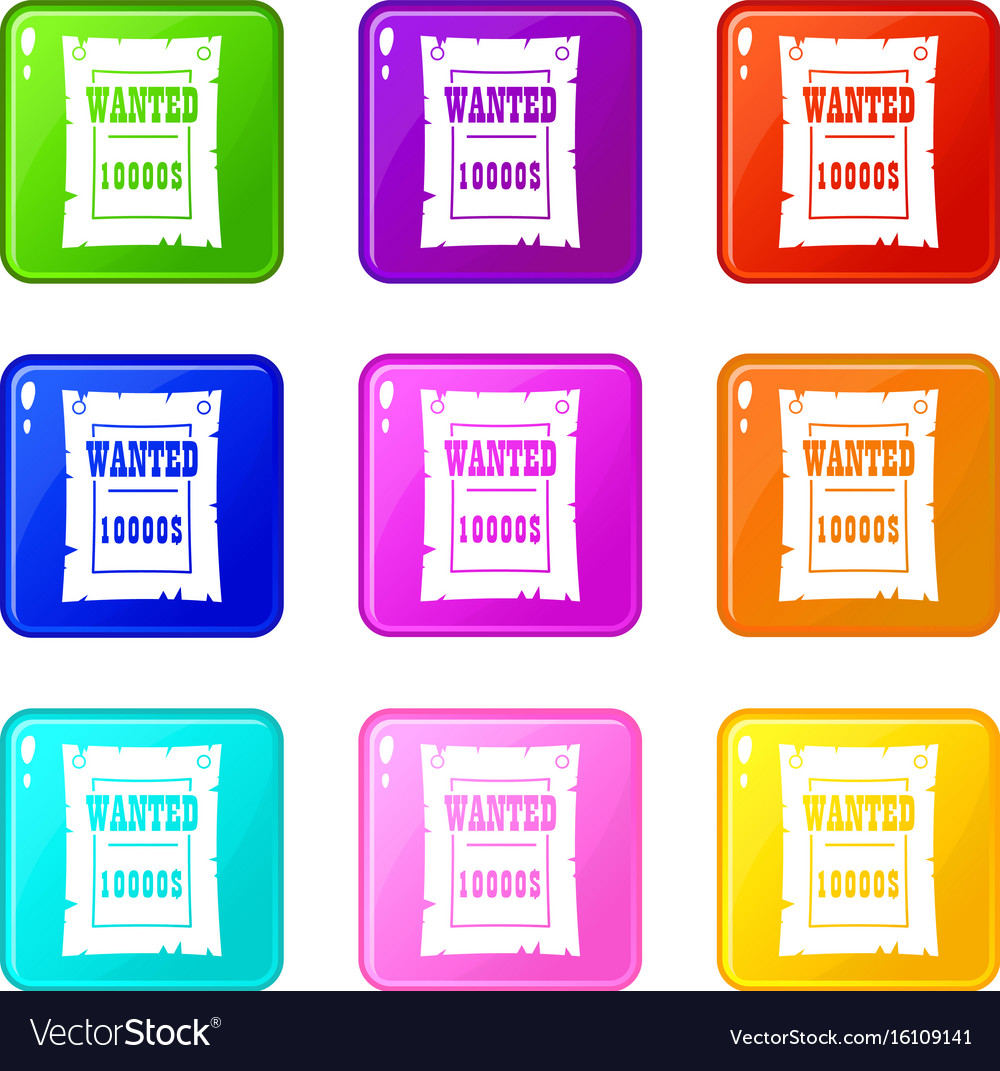 Vintage wanted poster set 9 vector image
