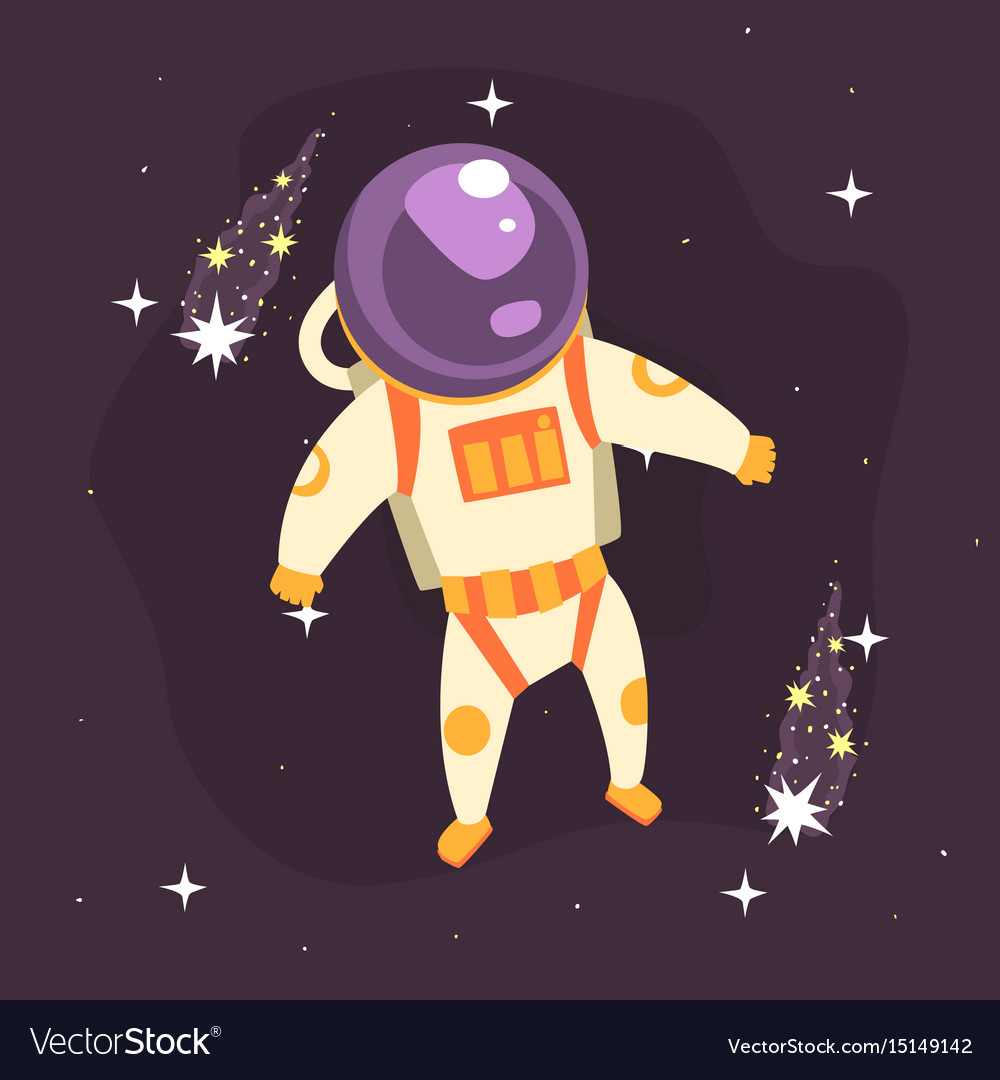 Cosmonaut in space suit at spacewalk in open space vector image