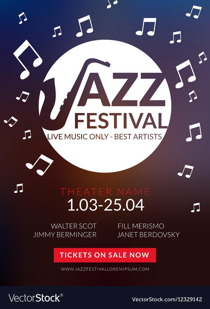 Musical flyer Jazz festival Music poster vector image