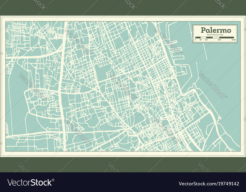 Palermo italy city map in retro style outline map vector image thecheapjerseys Choice Image
