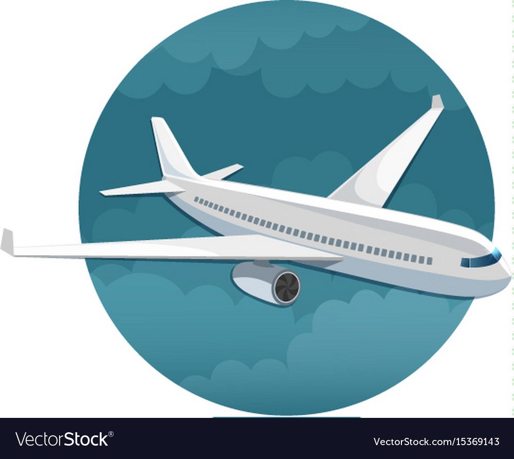 Icon of airplane side view vector image