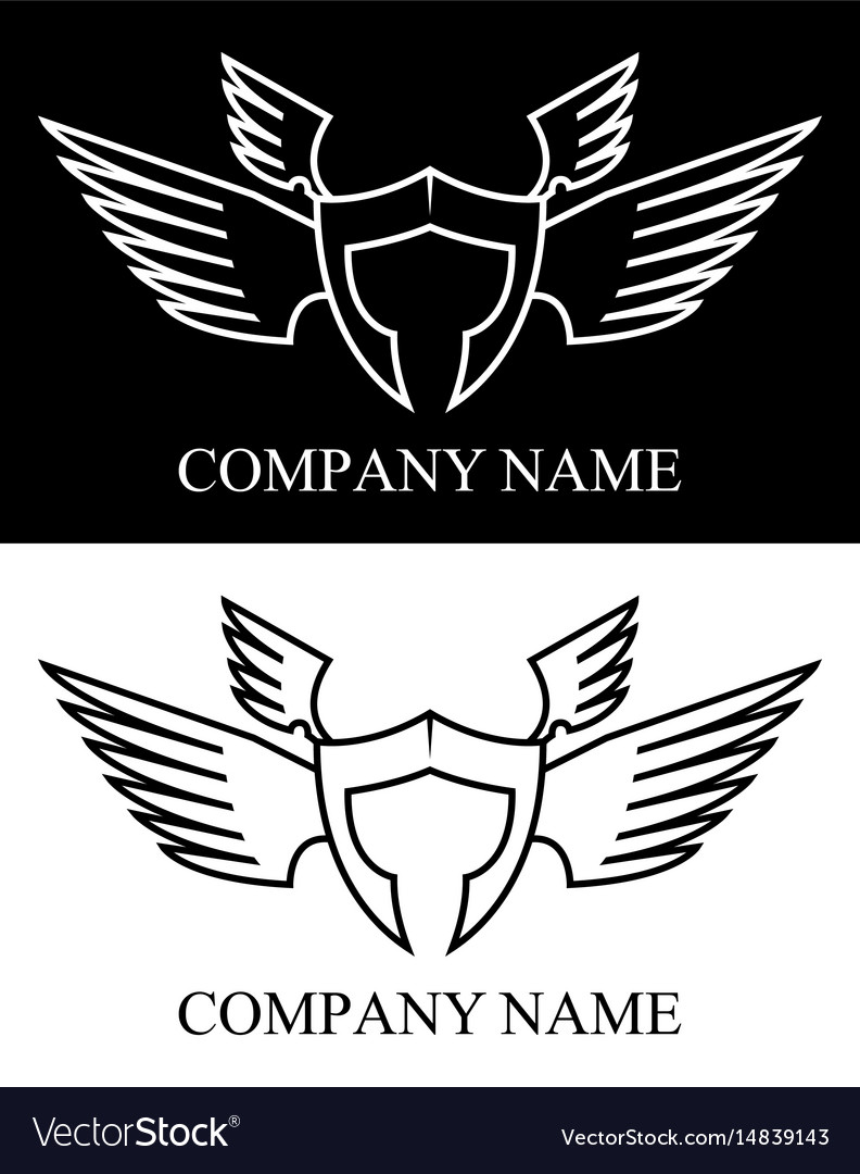 Sparta warrior wing logo vector image