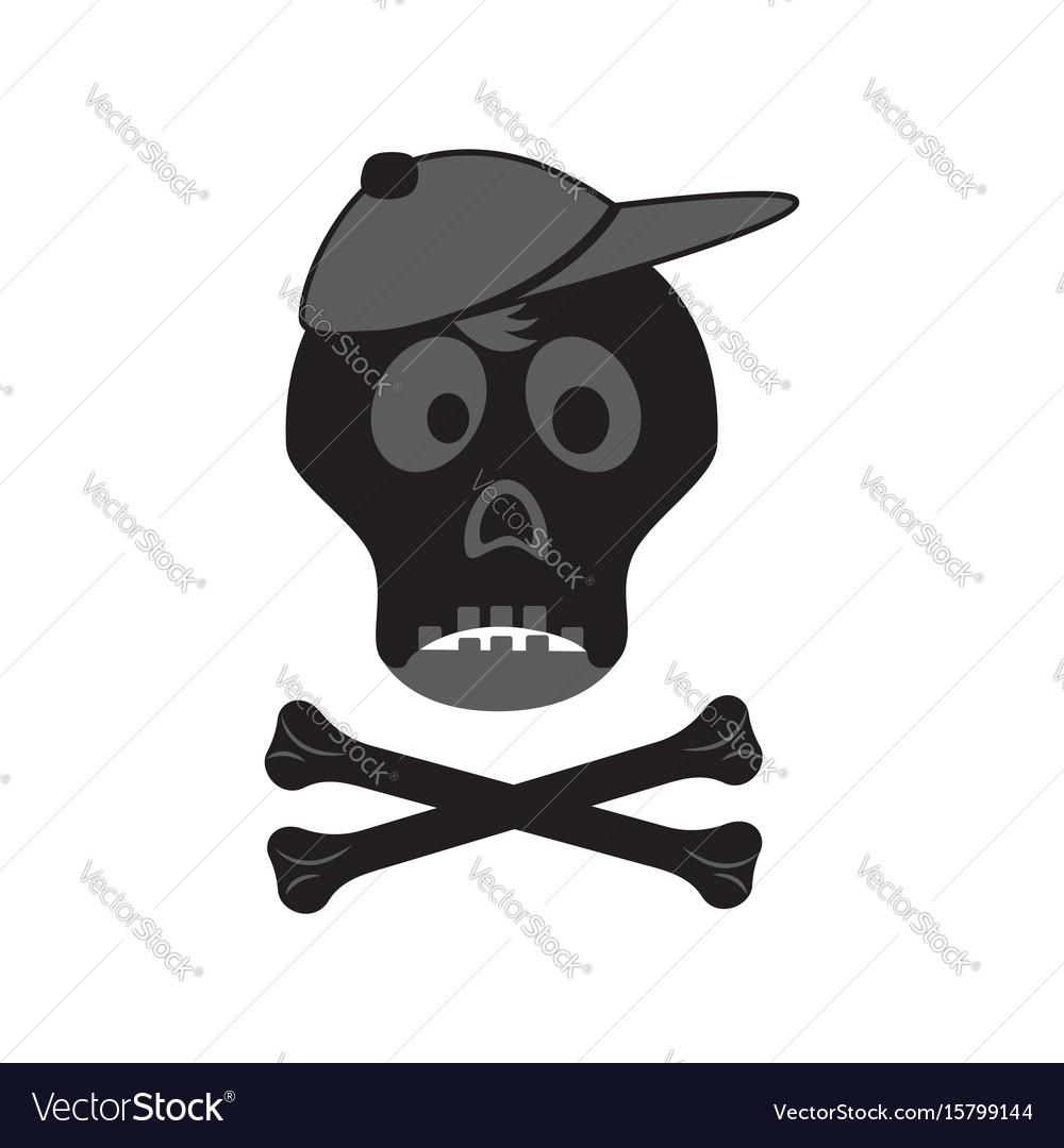 Funny skull with crossbones in a cap vector image