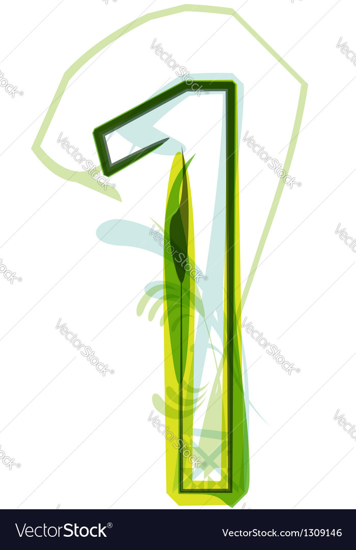 Green number 1 vector image