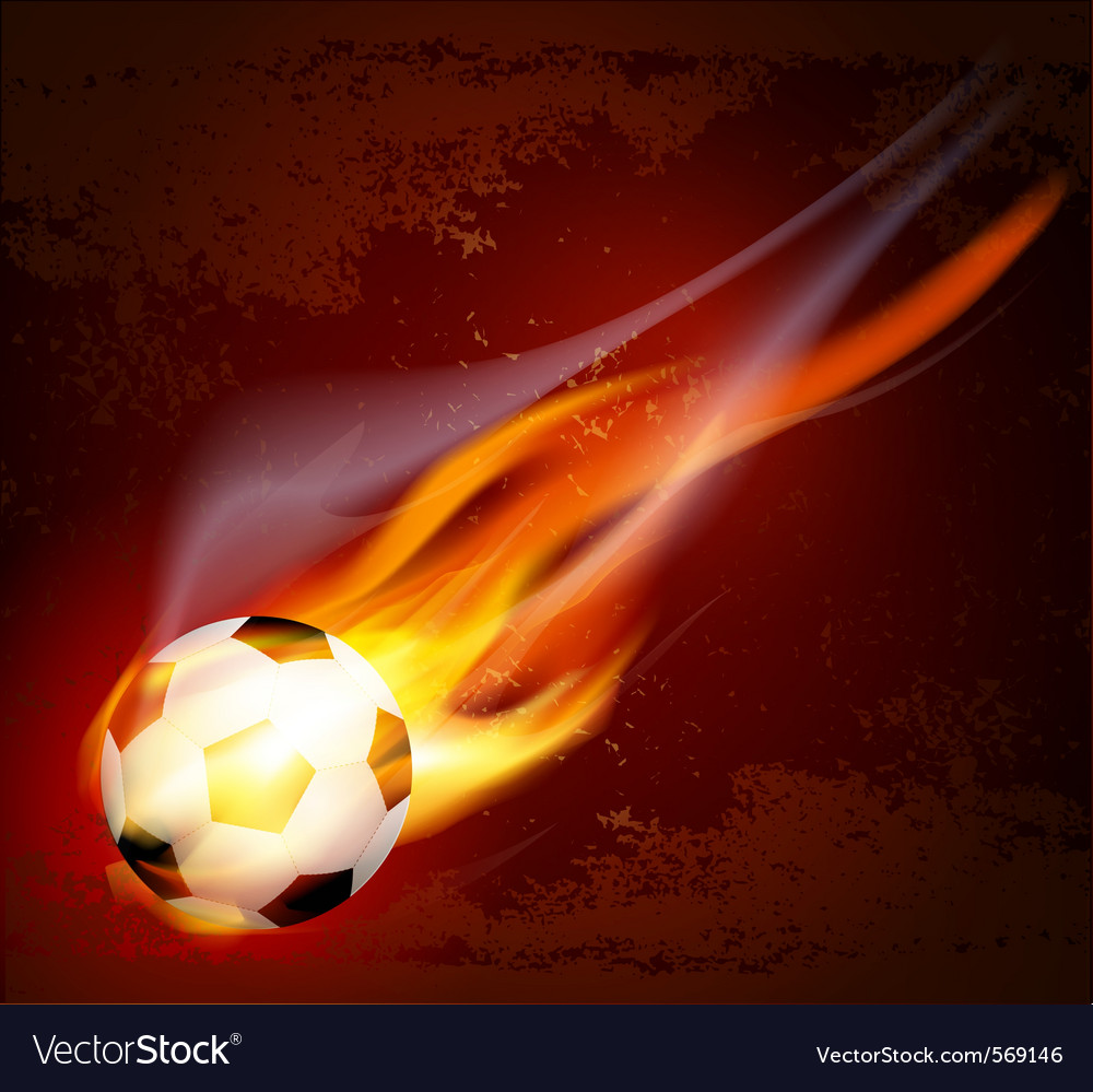 Flying flaming soccer ball vector image