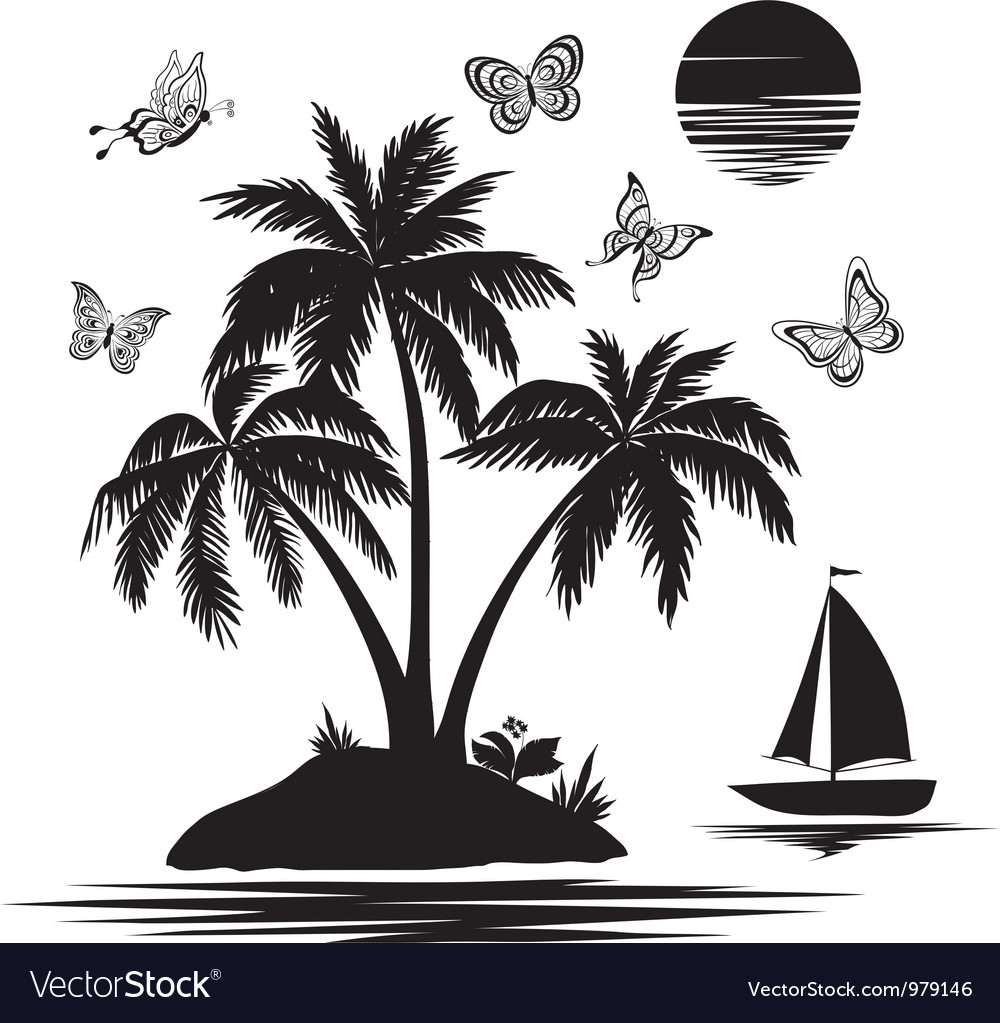 Island with palm ship butterflies silhouettes vector image