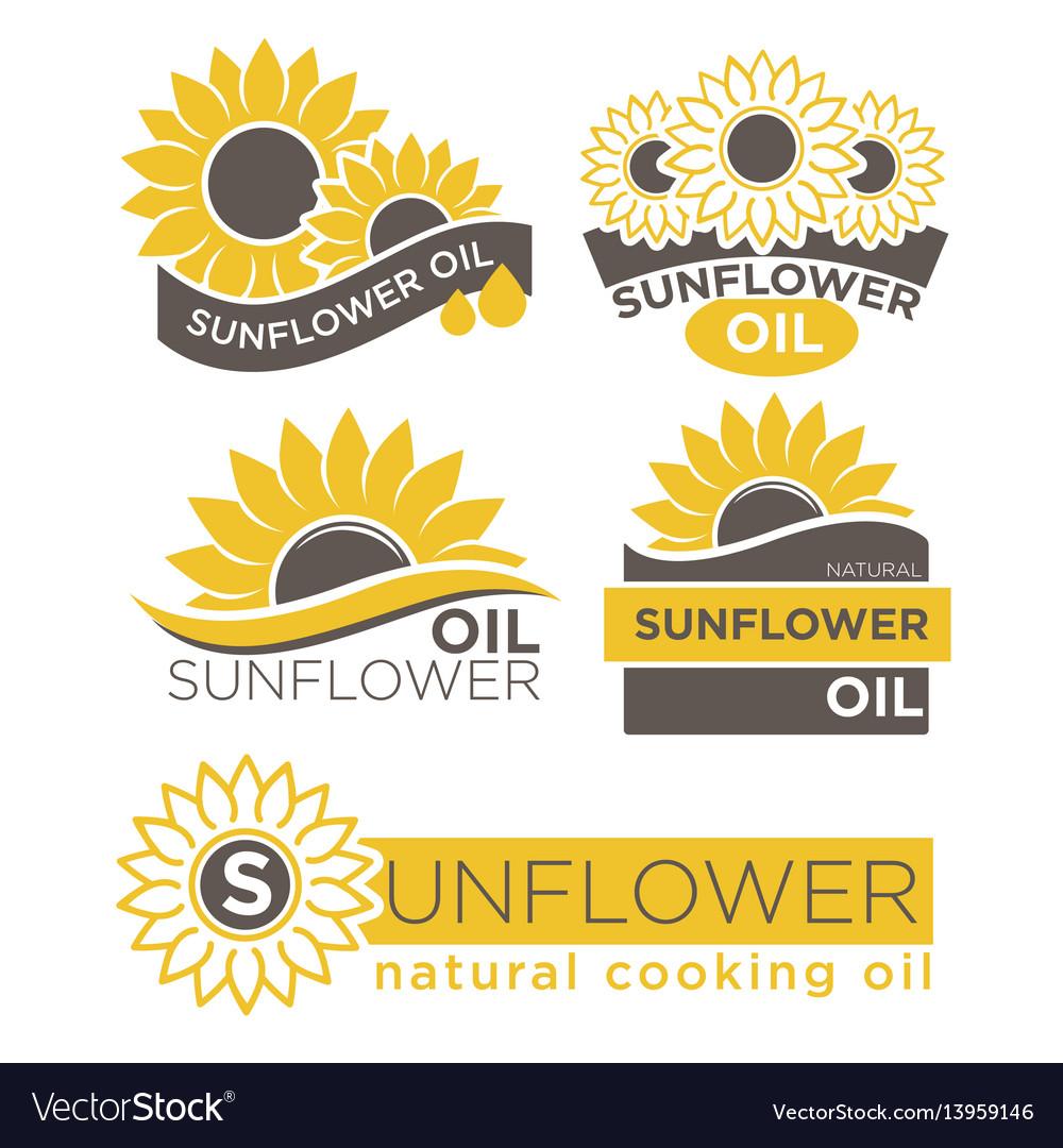 Natural sunflower oil logotypes set vector image
