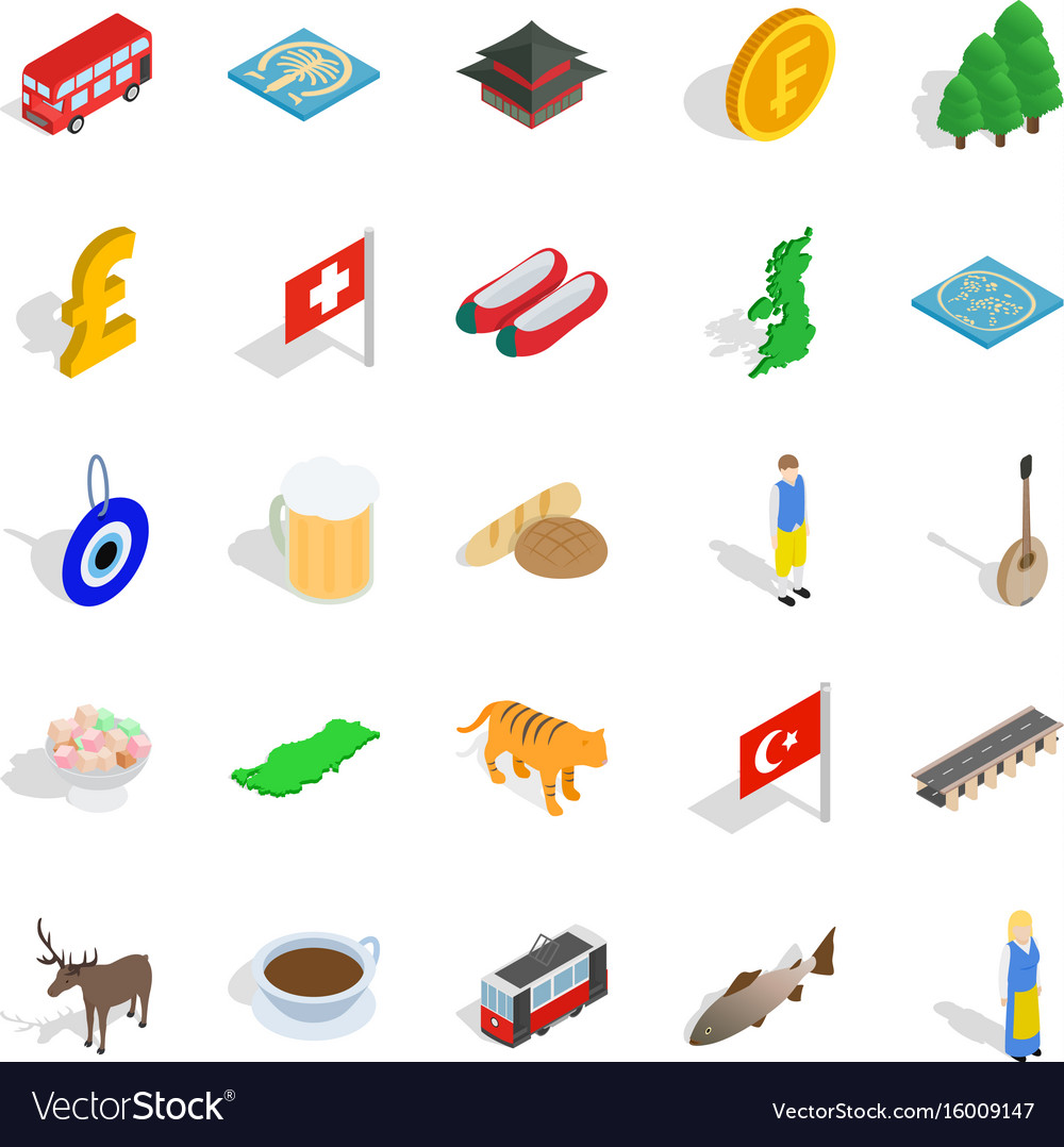 Central europe icons set isometric style vector image