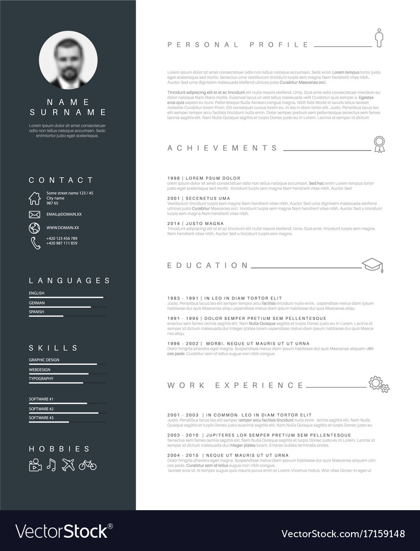 minimalist resume cv template with nice typography vector image - Minimalist Resume Template