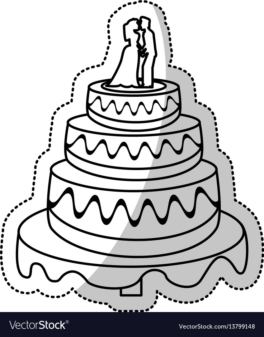 Wedding Cake Couple Outline Royalty Free Vector Image - Wedding Cake Outline