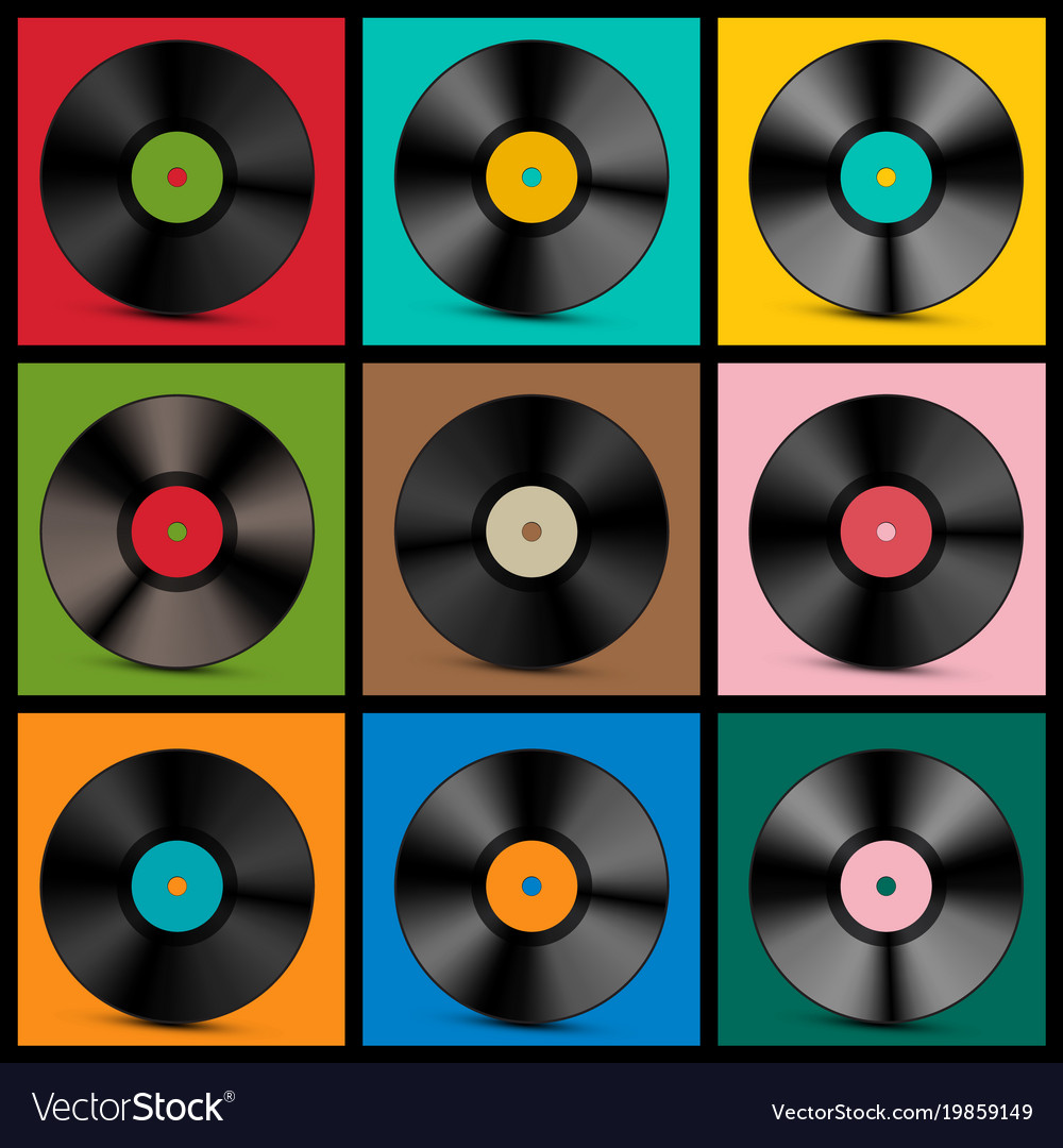 Vintage vinyl records vector image