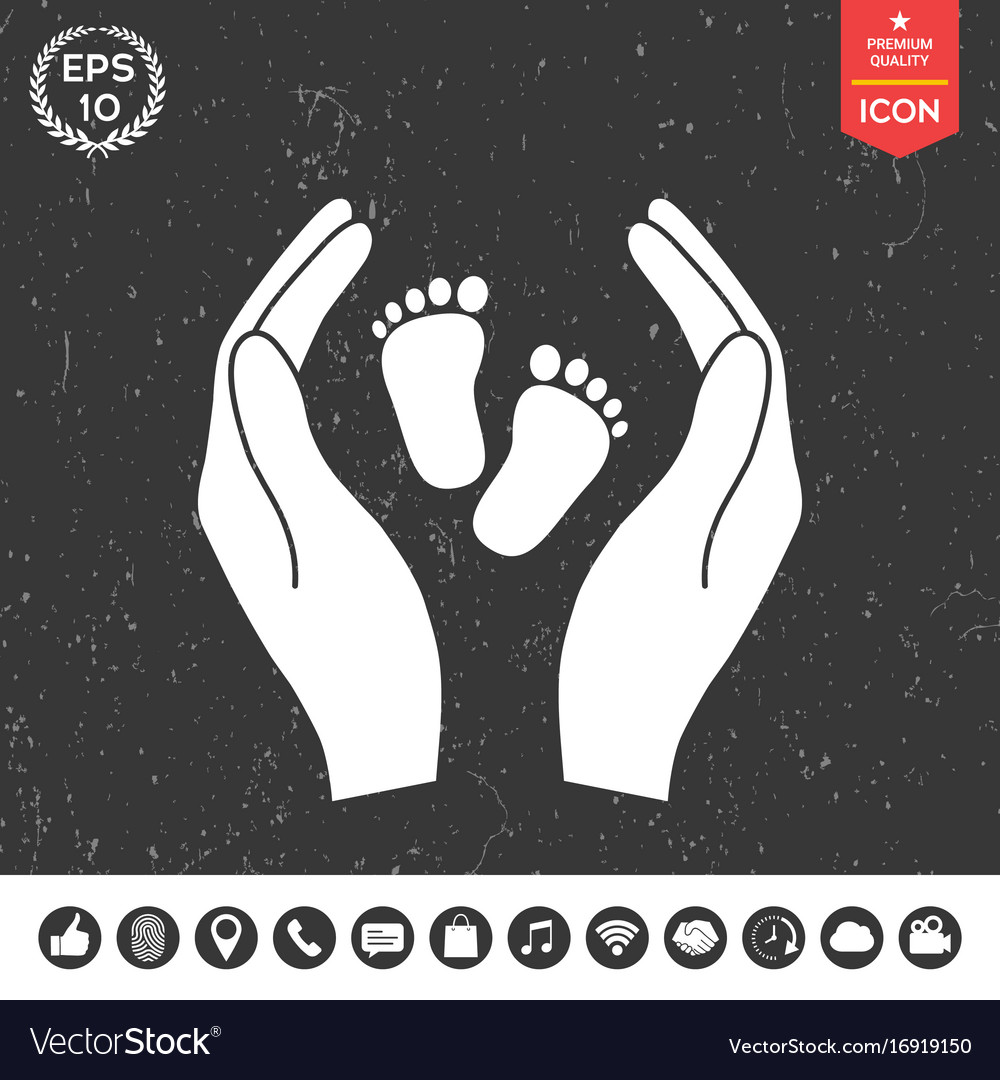 Hands holding baby foot protection symbol vector image hands holding baby foot protection symbol vector image biocorpaavc