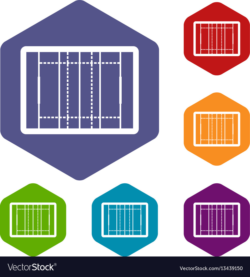Rugby field icons set vector image