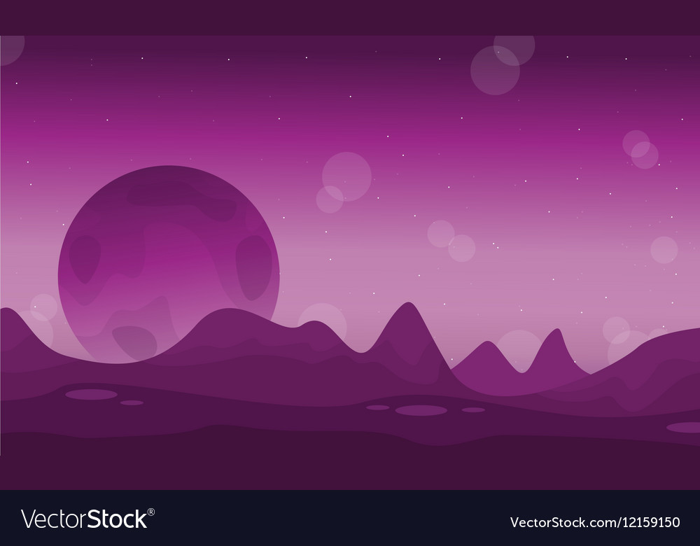Space desert with planet landscape vector image