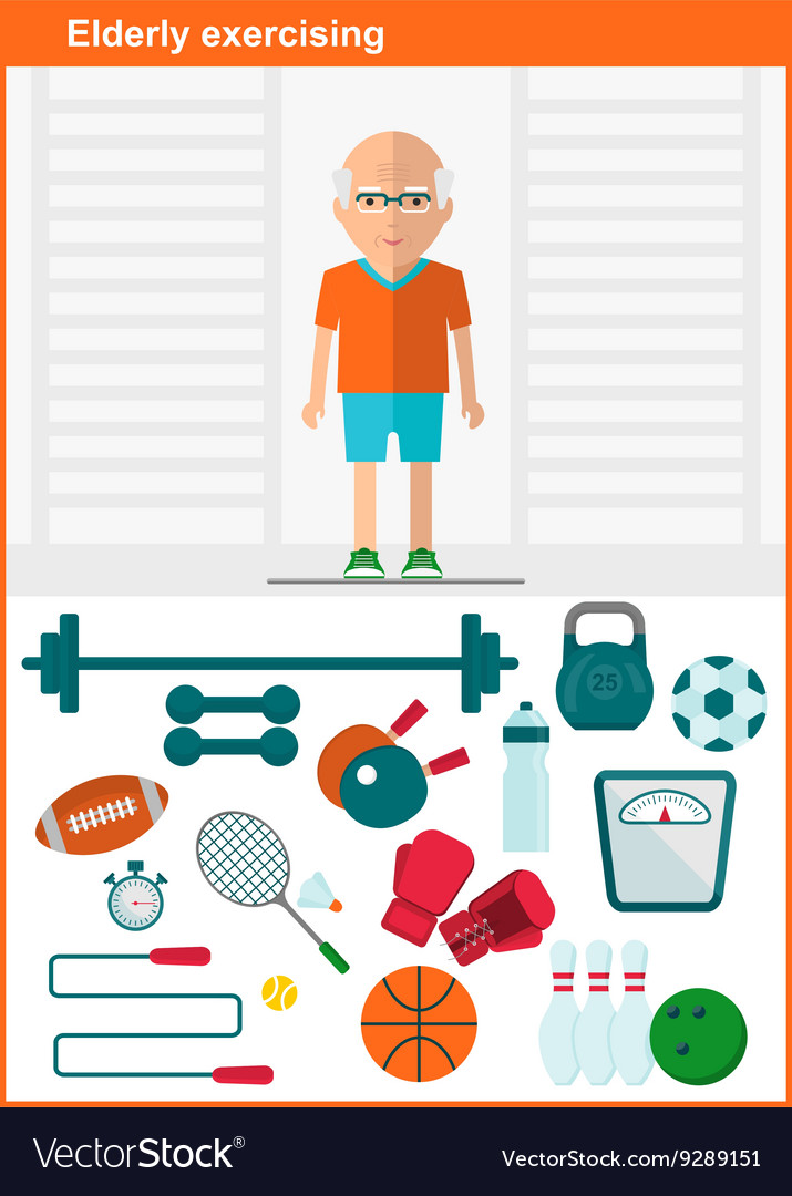 Elder men with set of sport equipment vector image