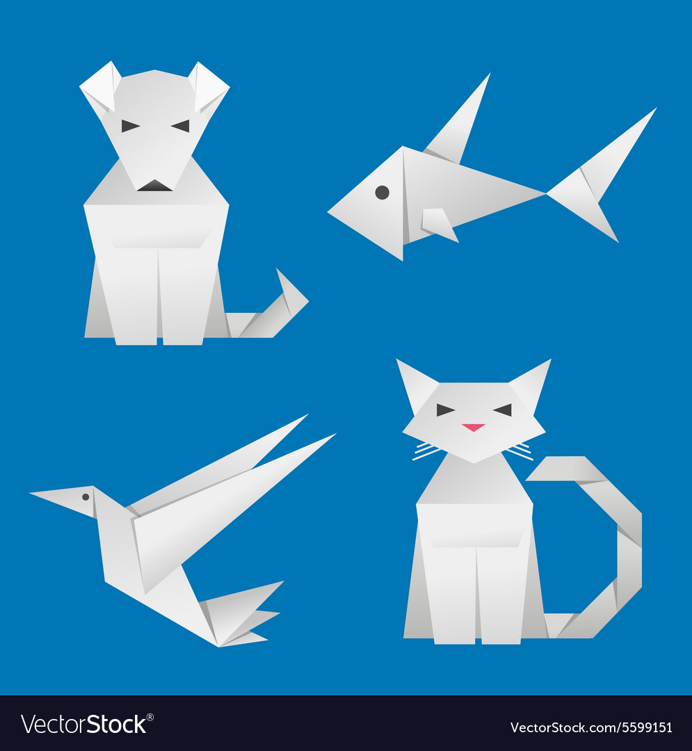 Paper Origami Animals vector image