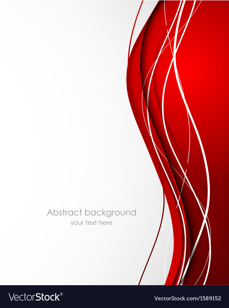 Abstract wavy background in red color vector image