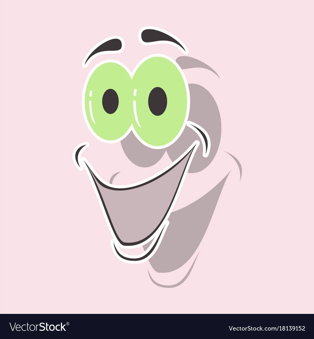 Realistic paper sticker on theme cartoon face