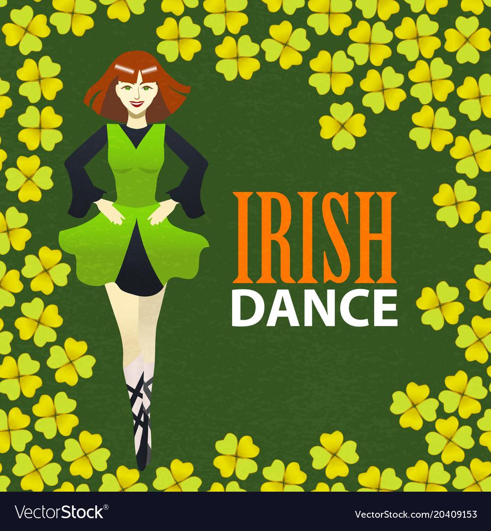 Free Irish Dance Classes In Lexington: Irish Dance Studio Template In Cartoon Style Vector Image