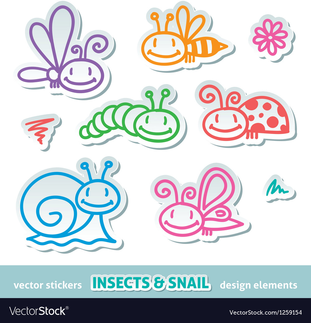 Hand drawn insects vector image