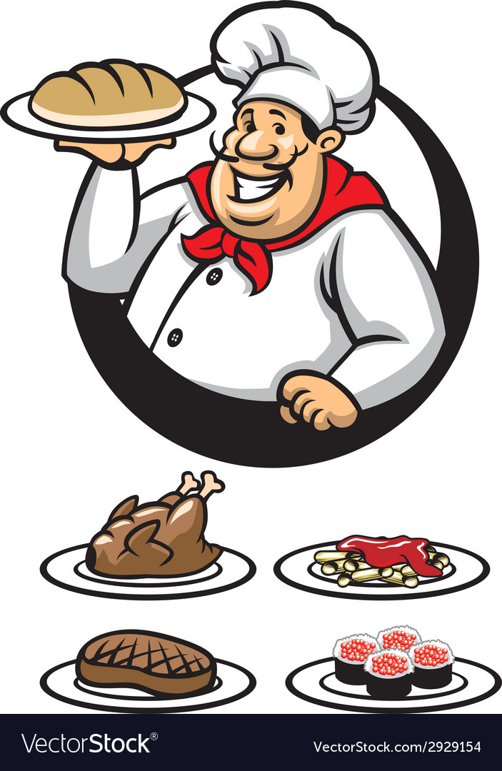 Chef presenting a plate of dish vector image