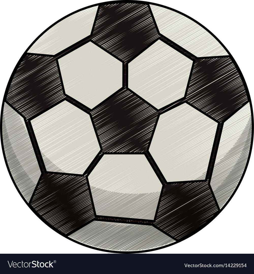 Drawing soccer ball equipment vector image