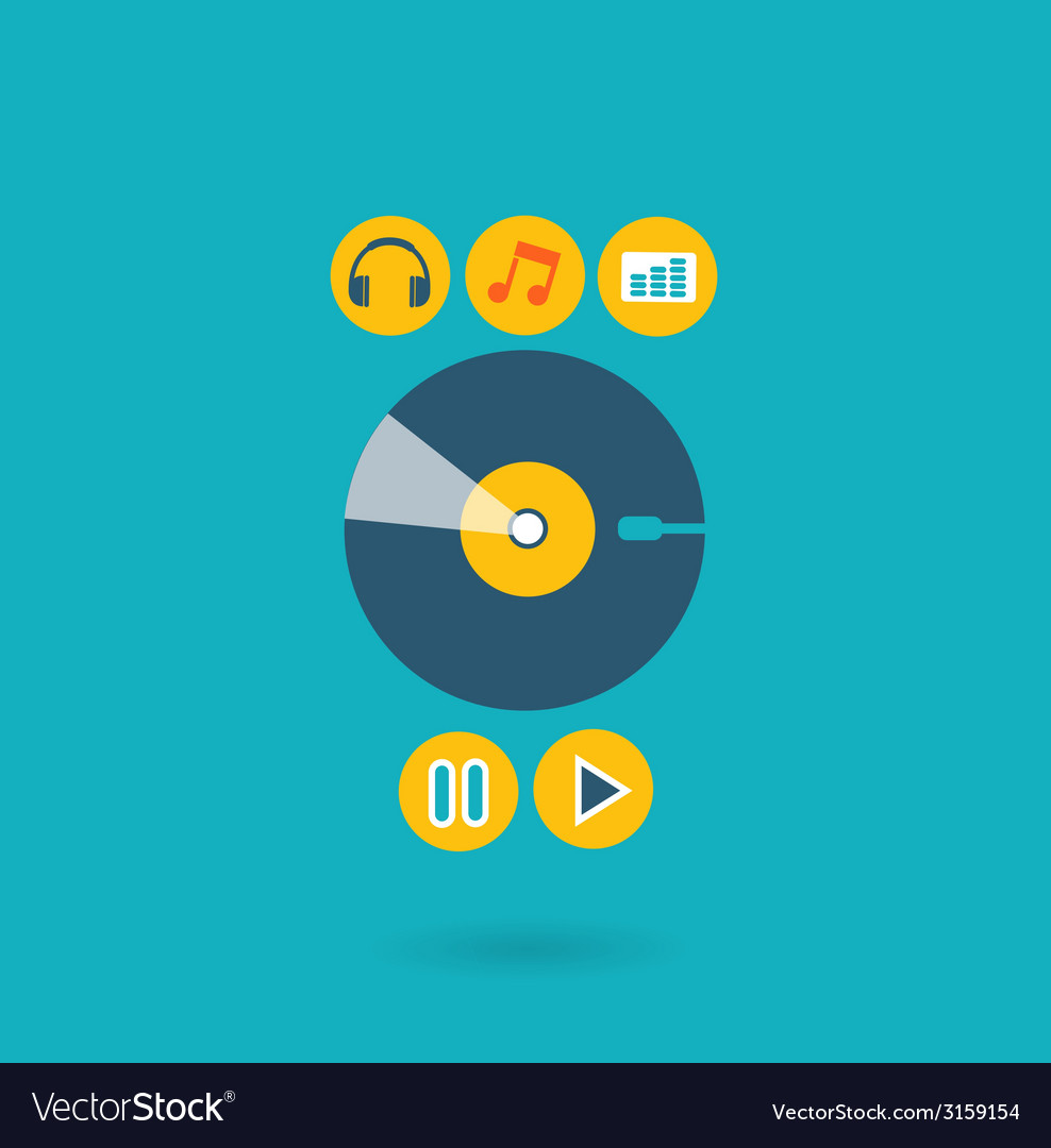 Flat design concept for listening to music vector image