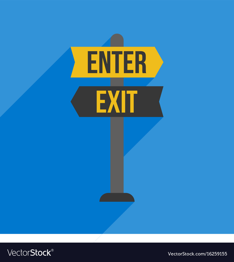 Enter and exit sign post flat design vector image