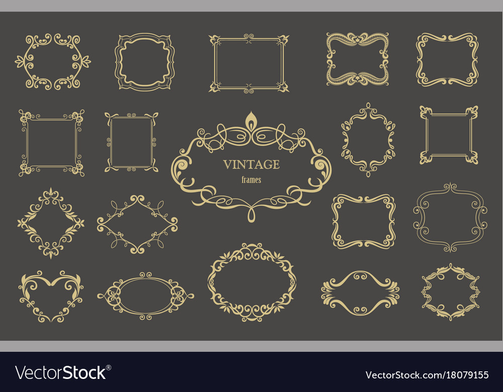 Set of gold vintage floral frames and monograms vector image