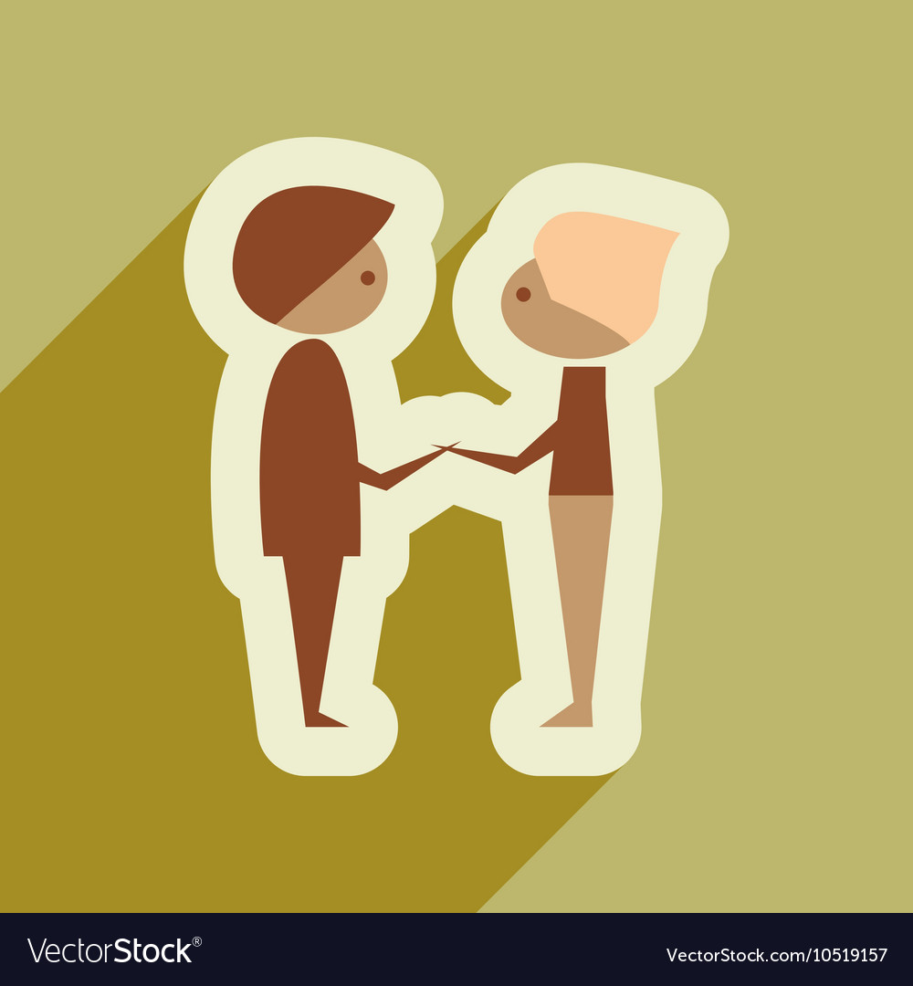 Flat web icon with long shadow male friends
