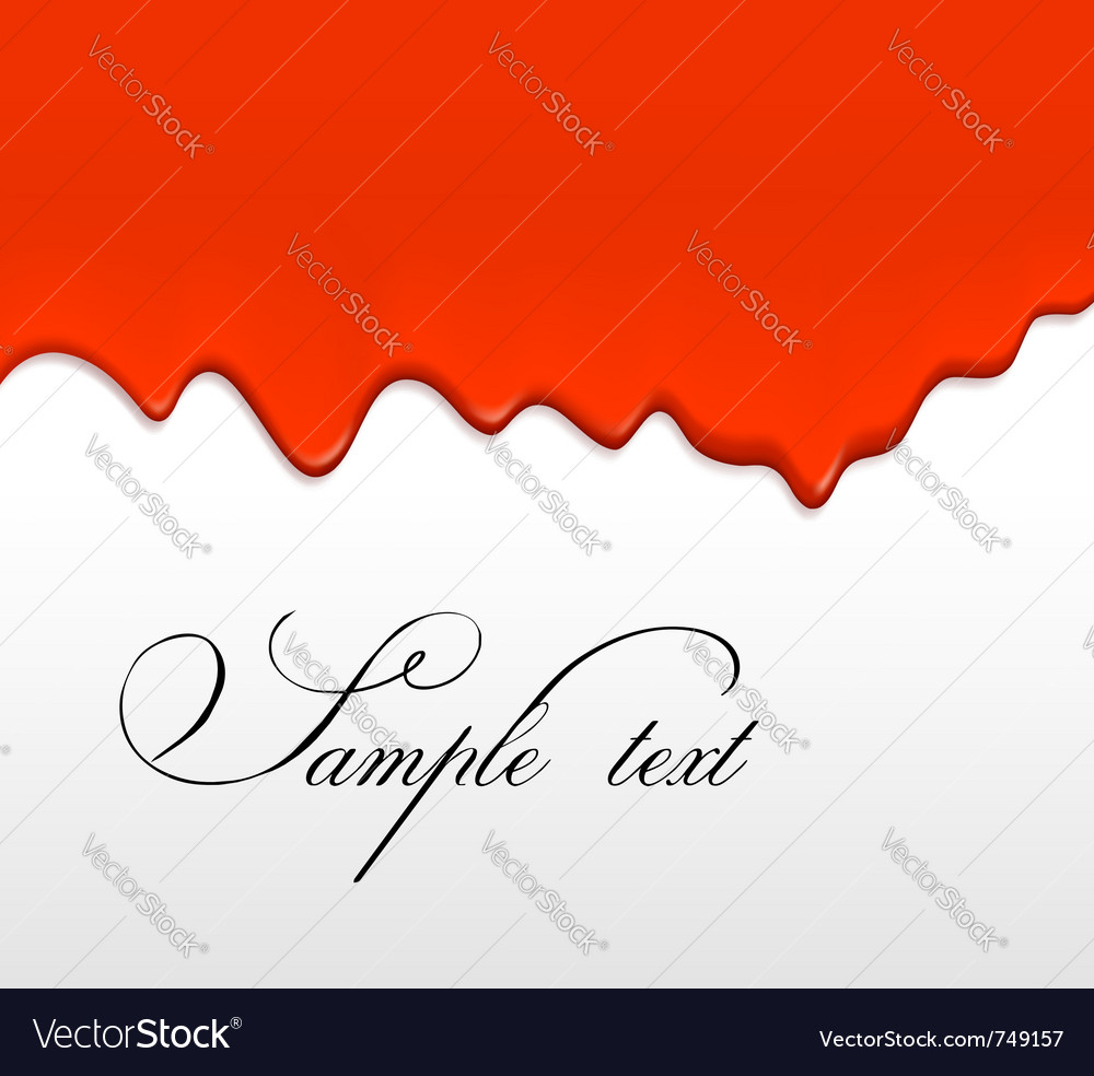 Red paint dripping from a wall vector image