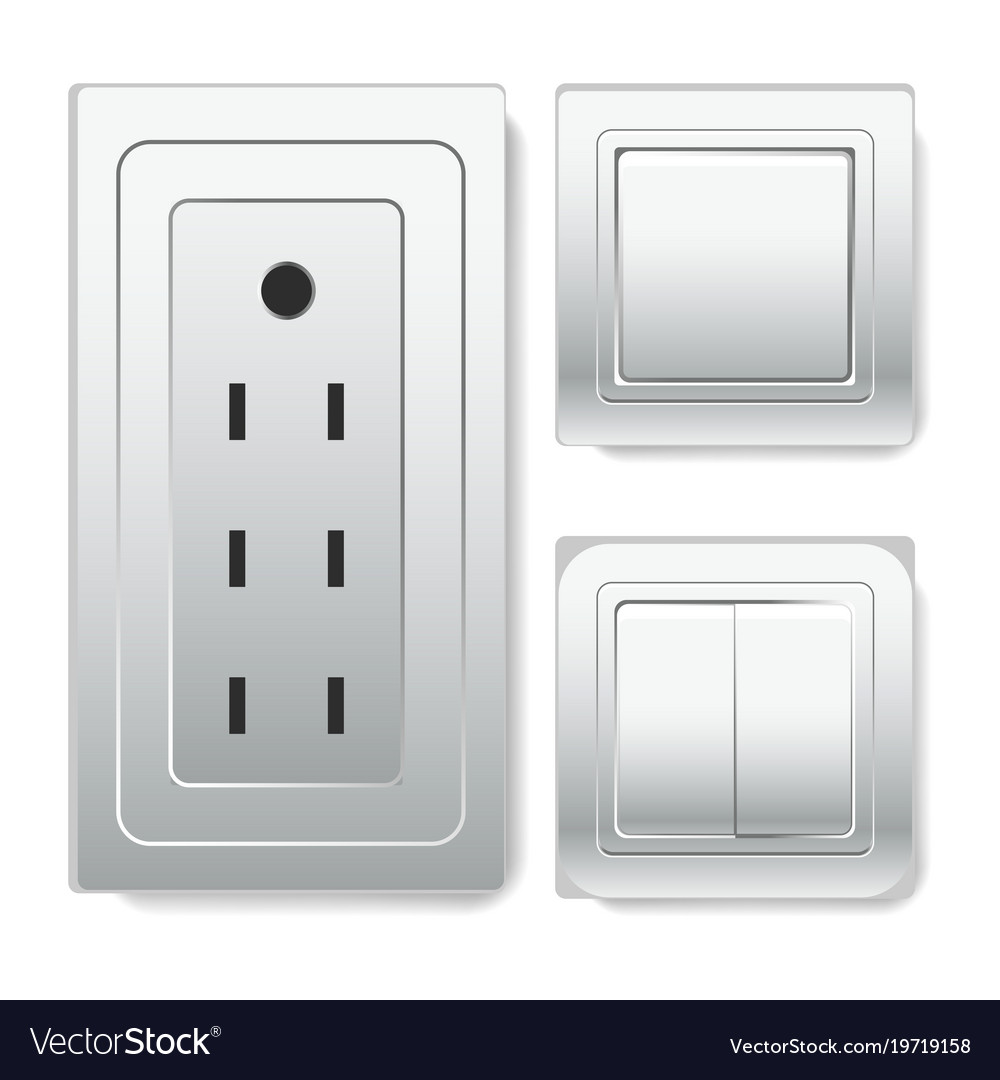 Big socket with euro connector and light switches Vector Image