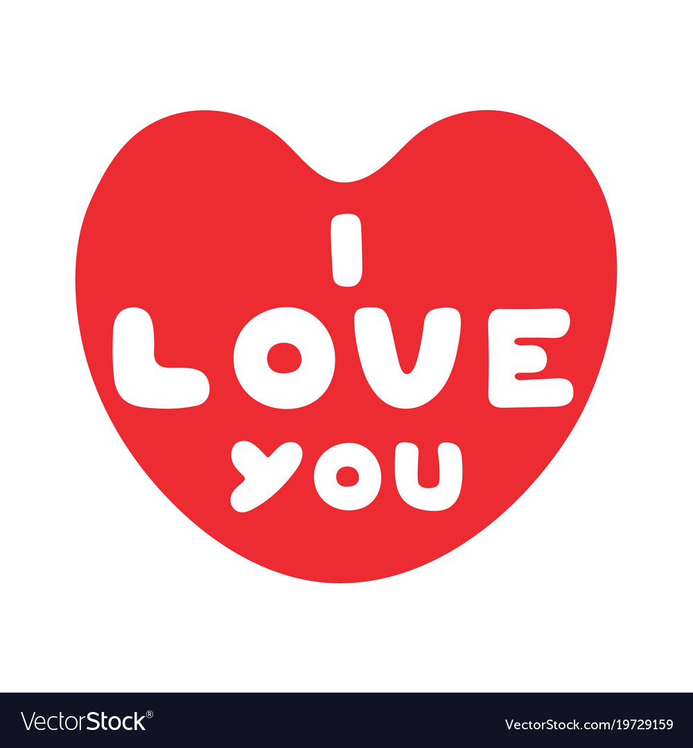 Cartoon heart with cute text i love you for vector image buycottarizona Images