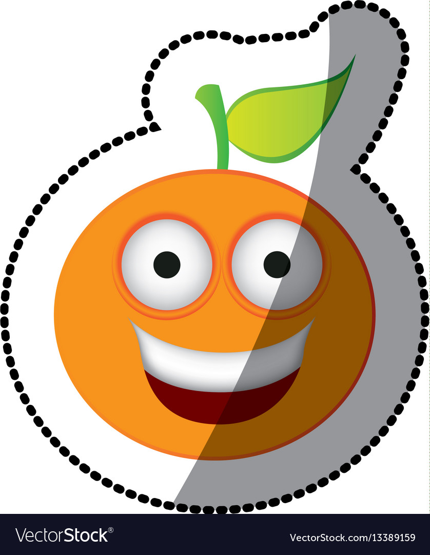 Colorful kawaii fruit orange happy icon vector image