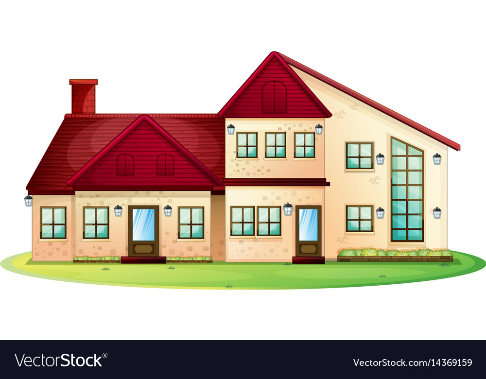 House with red roof with green lawn vector image