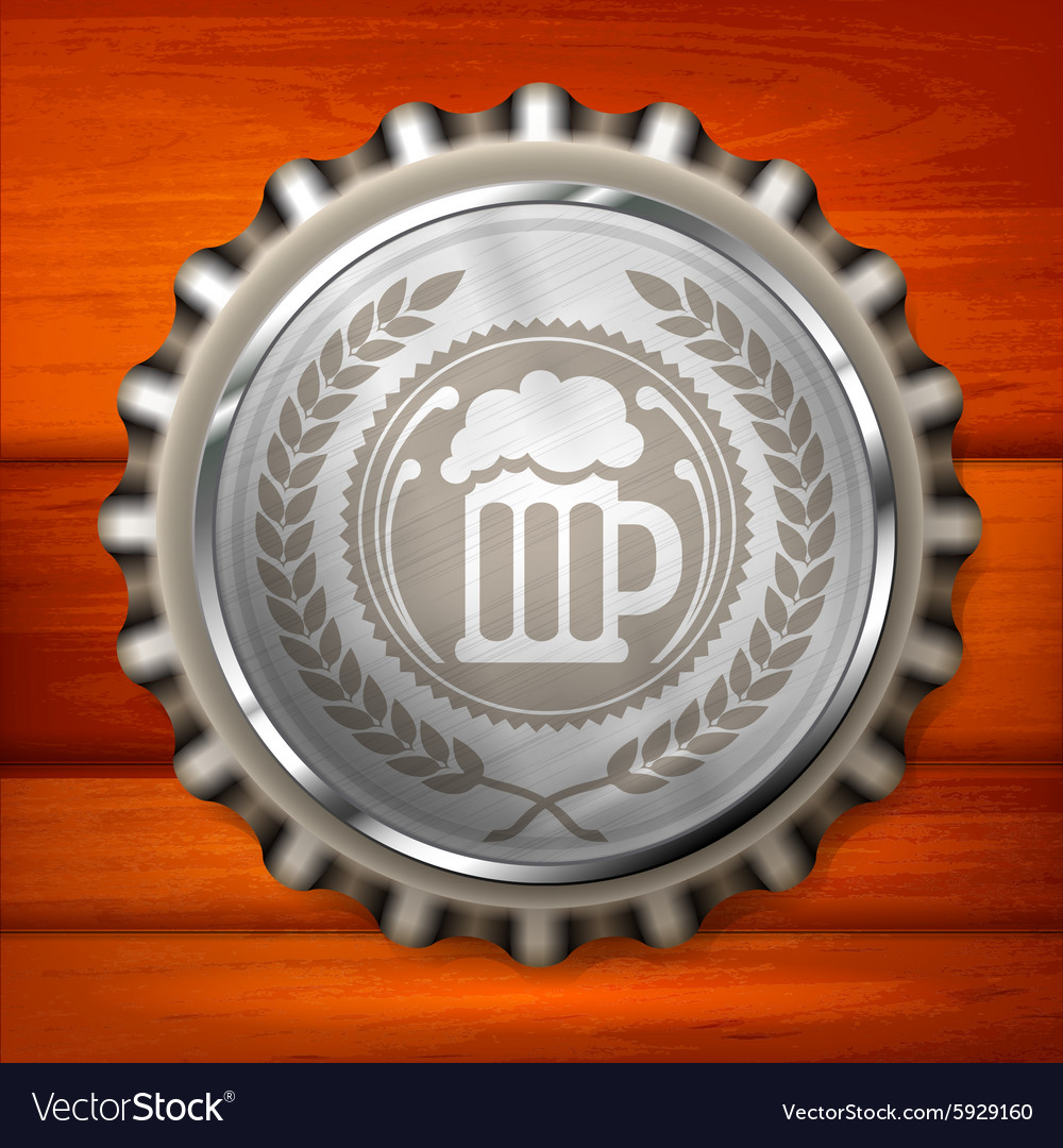 Bottle cap with beer mug vector image