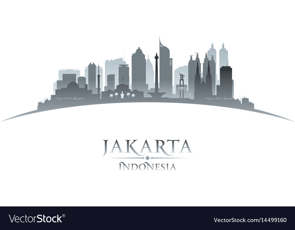 Jakarta indonesia city skyline silhouette white vector image