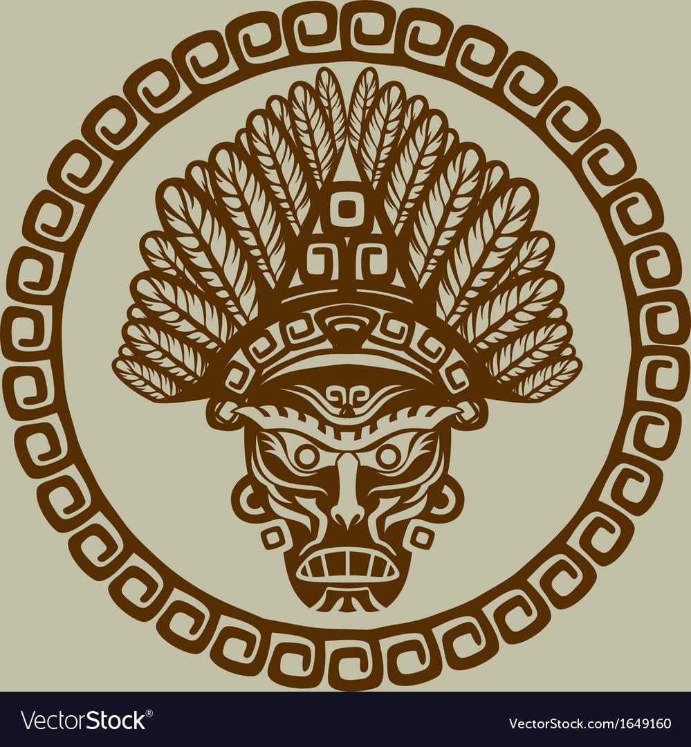 Native American mask in circular pattern vector image