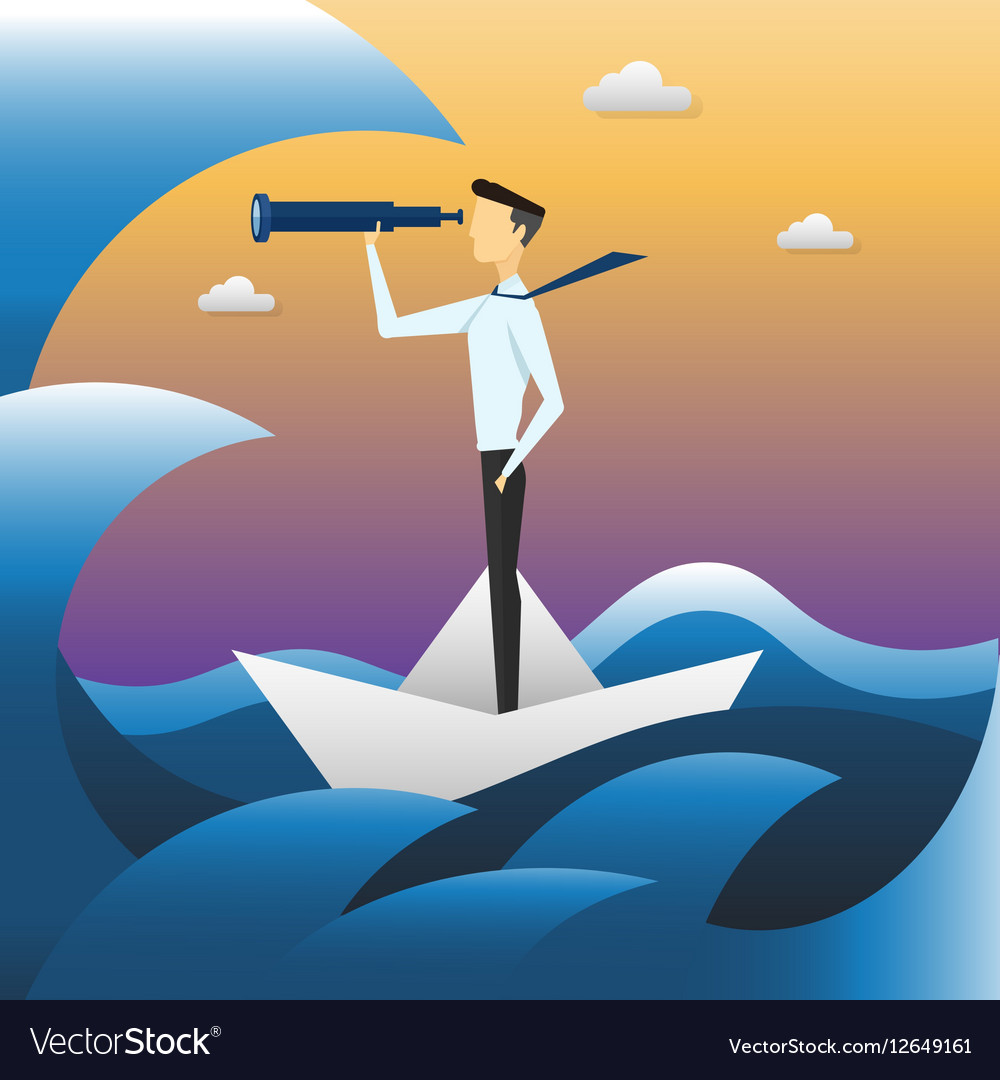 Businessman on boat watching through telescope vector image