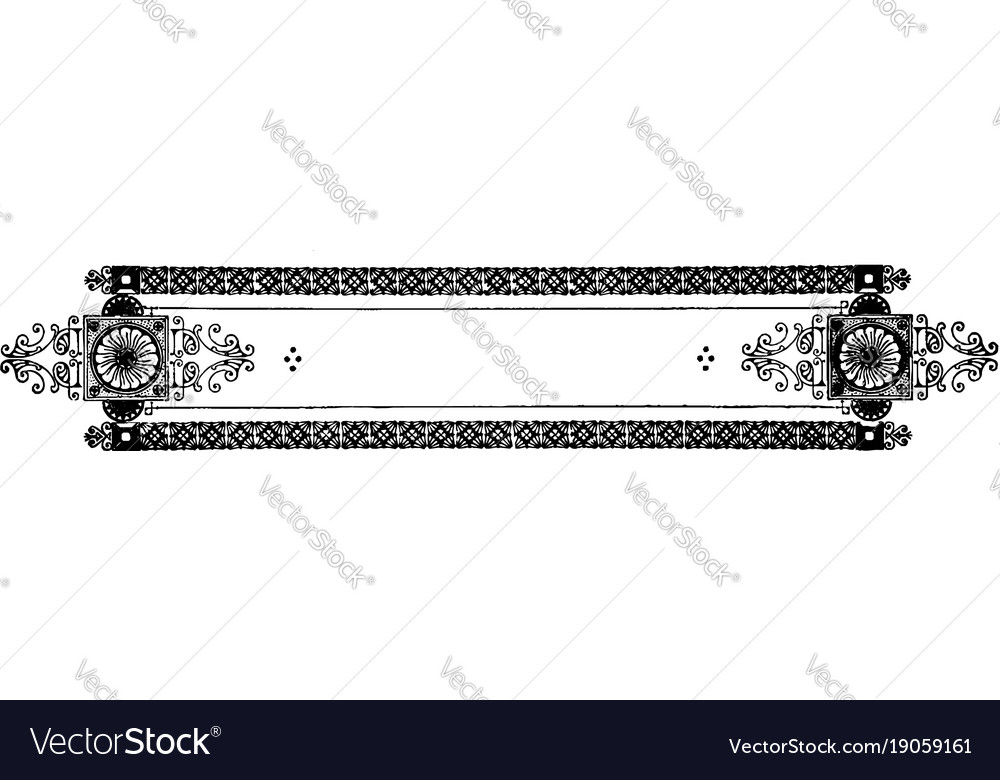 Ornate banner have double line dark decorated vector image