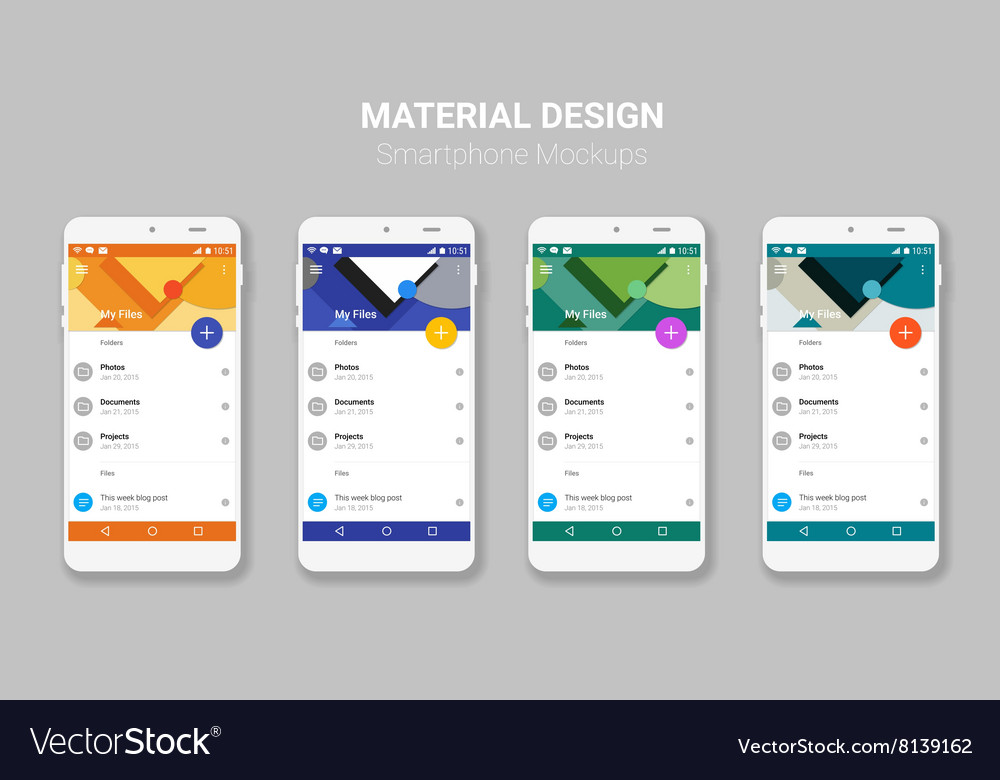 material ui screens mockup kit royalty free vector image
